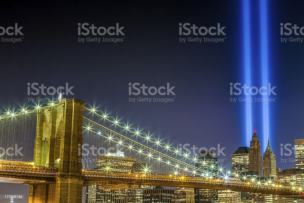 September 11th Lights over Brooklyn Bridge stock photo