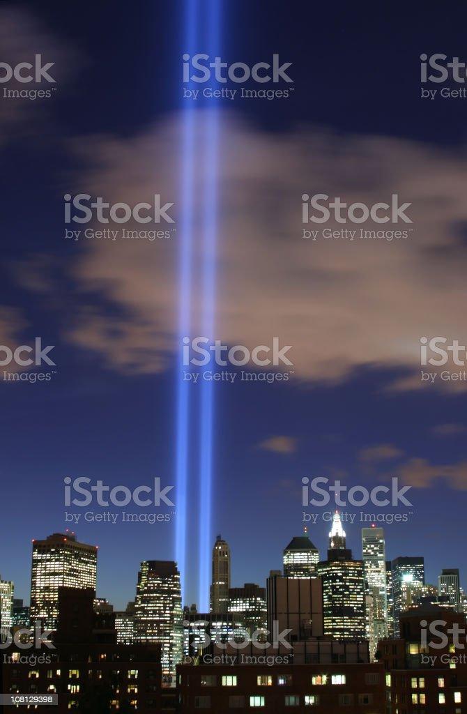 September 11th World Trade Center Memorial Lights in New York stock photo