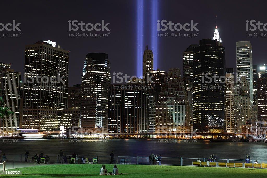 September 11th World Trade Center Memorial Lights New York 2006 royalty-free stock photo
