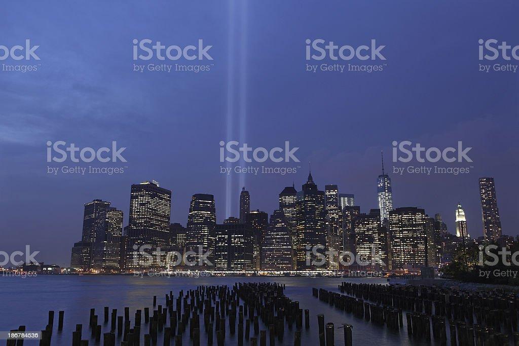 September 11th World Trade Center Memorial Lights New York 2006 stock photo