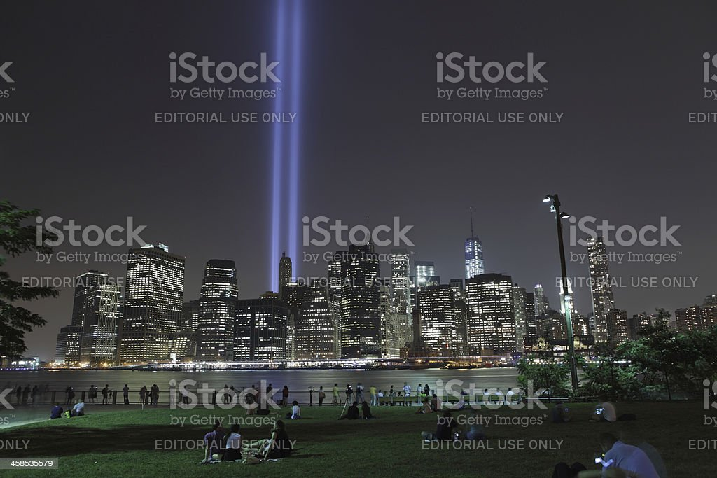 September 11th World Trade Center Memorial Lights New York 2006 royalty-free stock photo