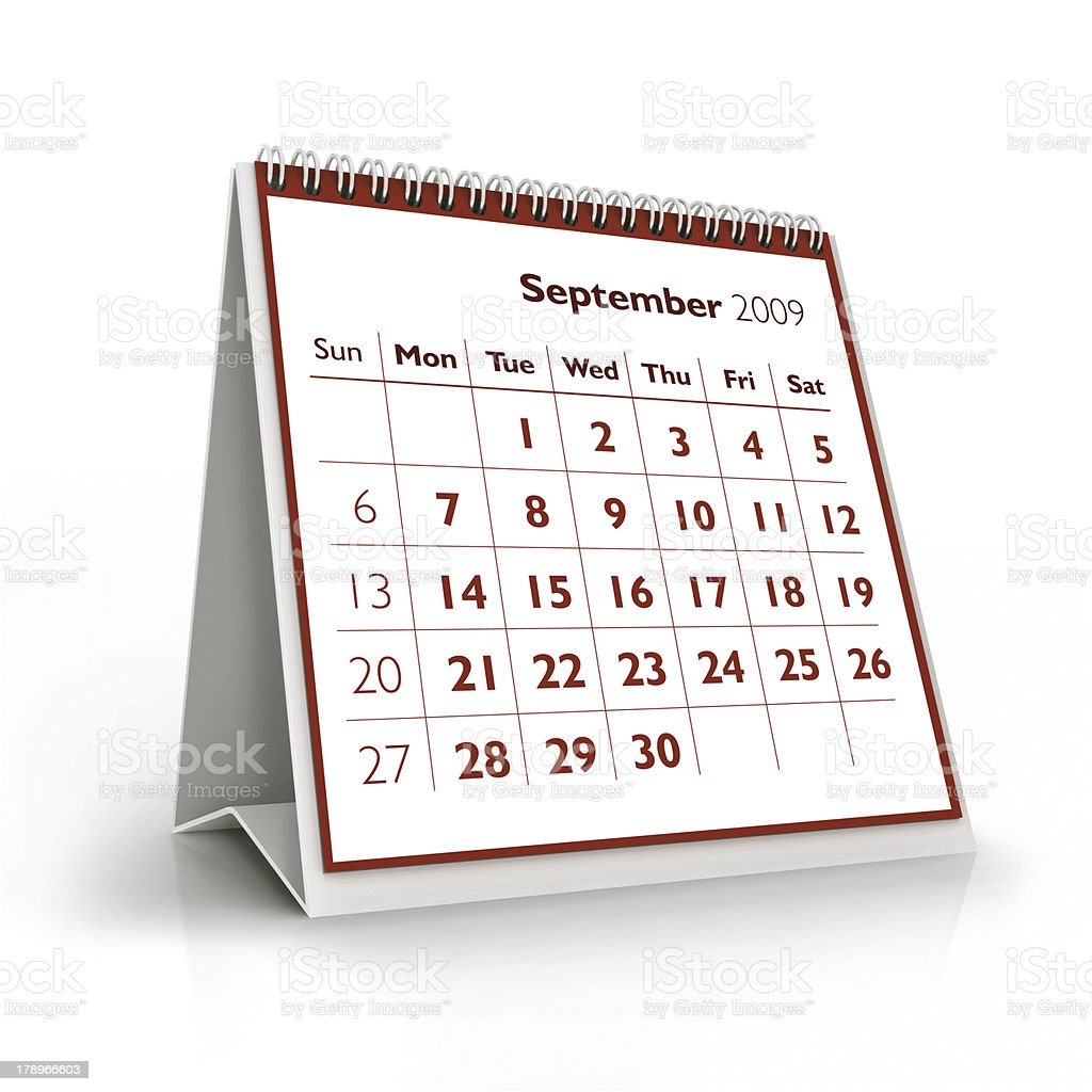 September. 2009 3D calendar royalty-free stock photo