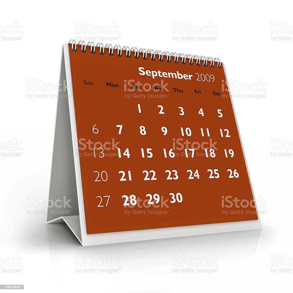 September 2009 calendar royalty-free stock photo