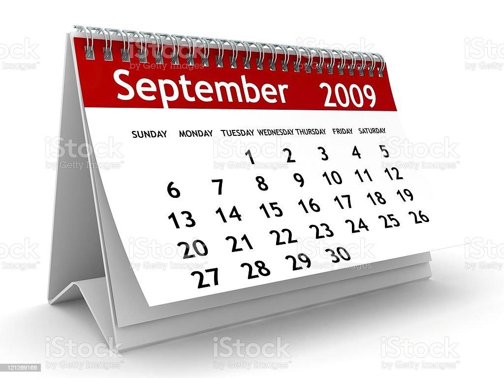 September 2009 - Calendar series stock photo
