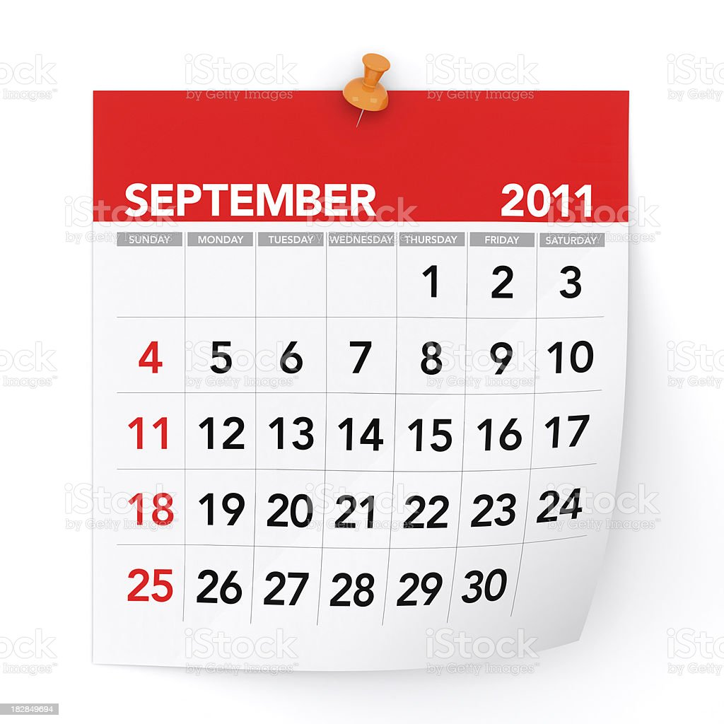 September 2011 - Calendar royalty-free stock photo