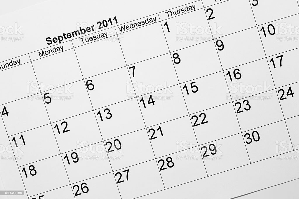 September 2011 calendar royalty-free stock photo