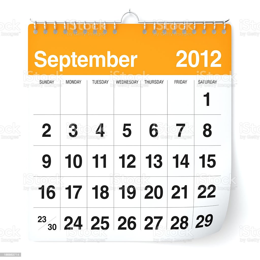 September 2012 - Calendar royalty-free stock photo