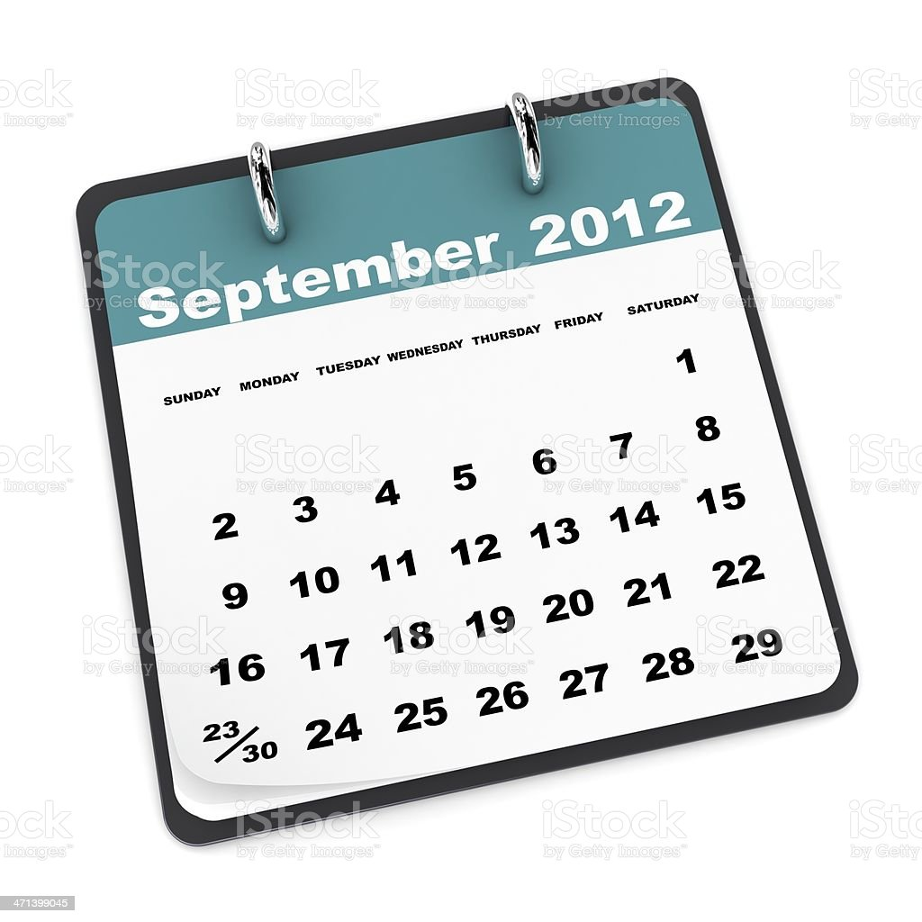 September 2012 Calendar royalty-free stock photo