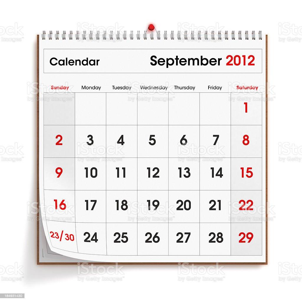 September 2012 Wall Calendar royalty-free stock photo