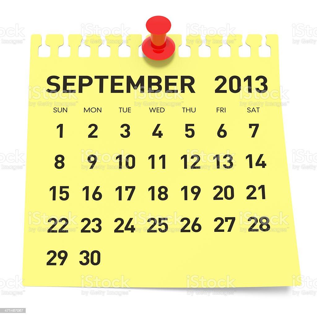 September 2013 - Calendar royalty-free stock photo