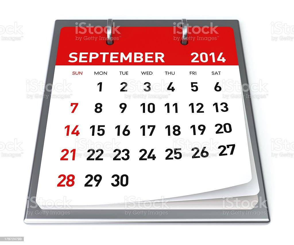 September 2014 - Calendar royalty-free stock photo