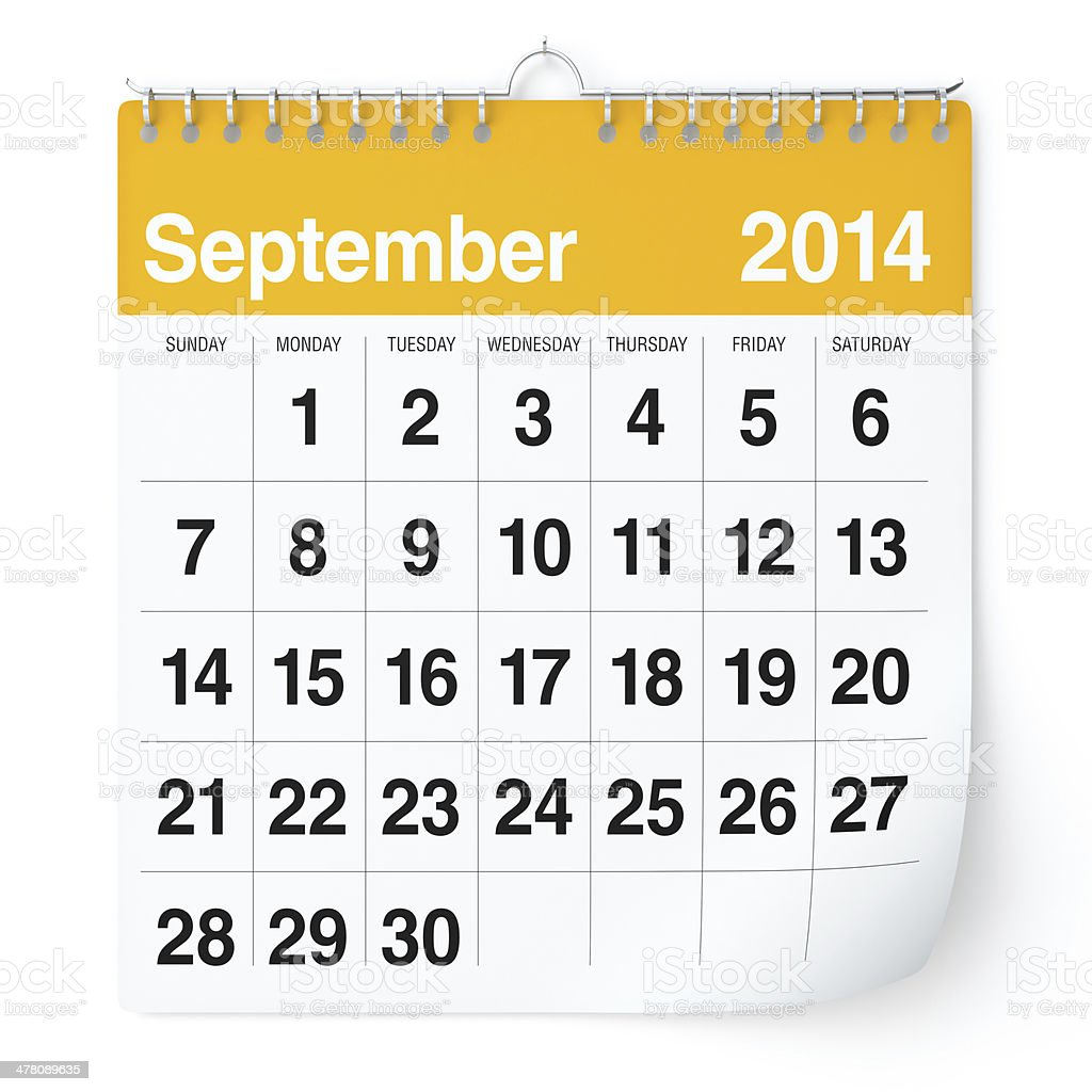 September 2014 - Calendar royalty-free stock photo