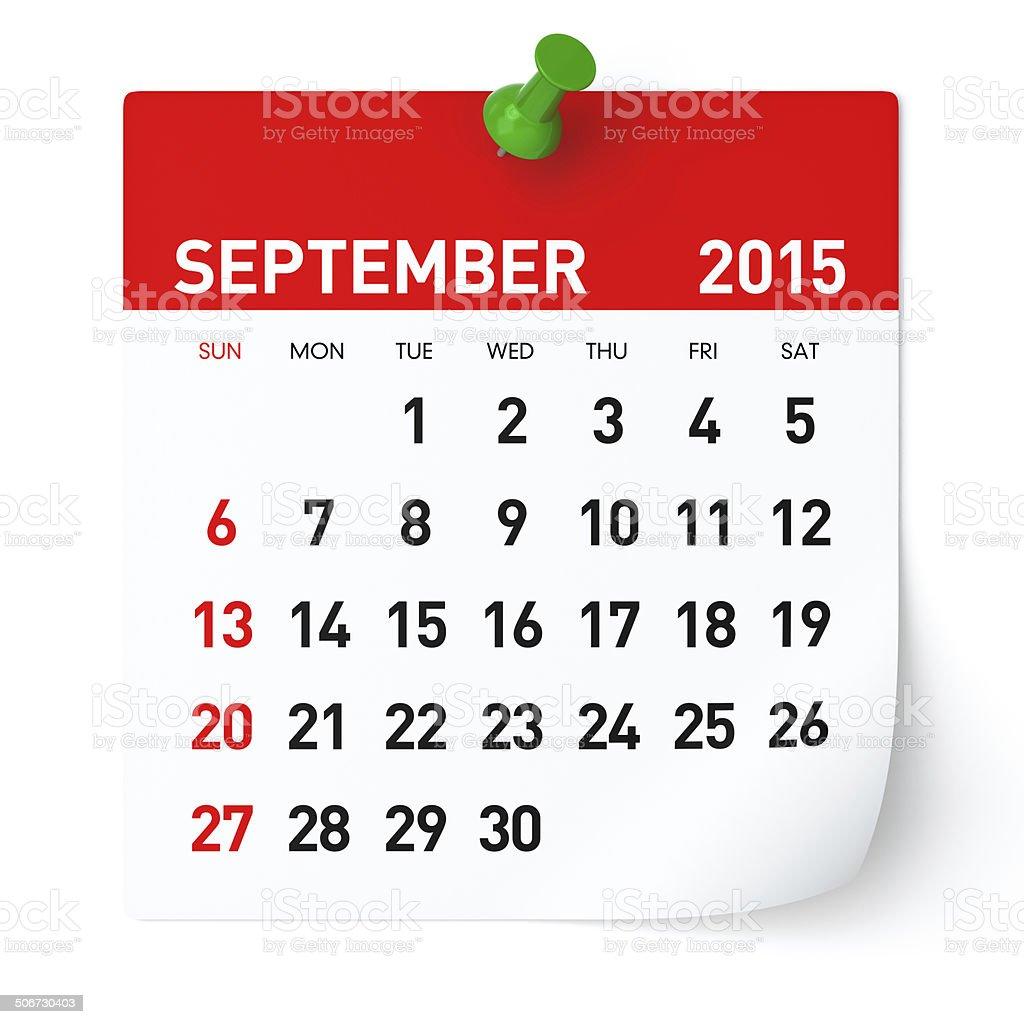 September 2015 - Calendar stock photo