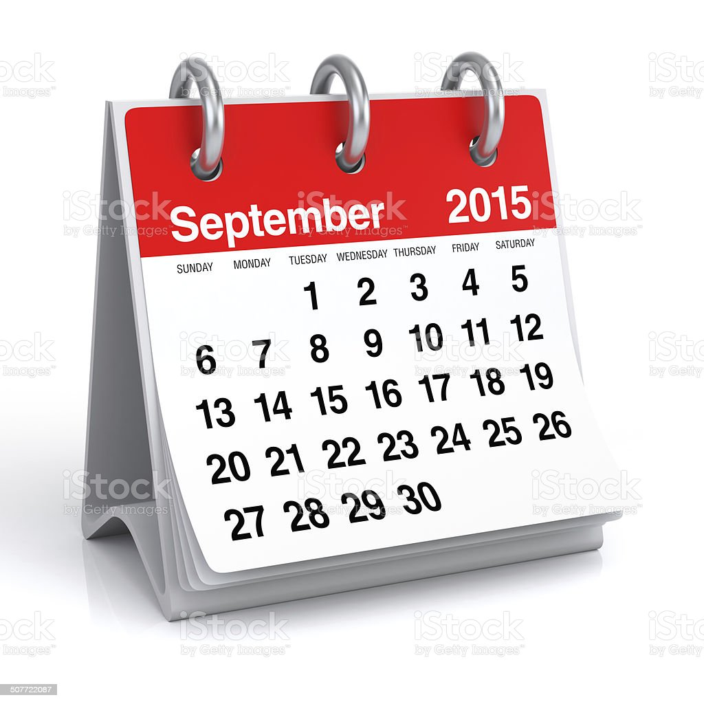 September 2015 - Calendar stock photo