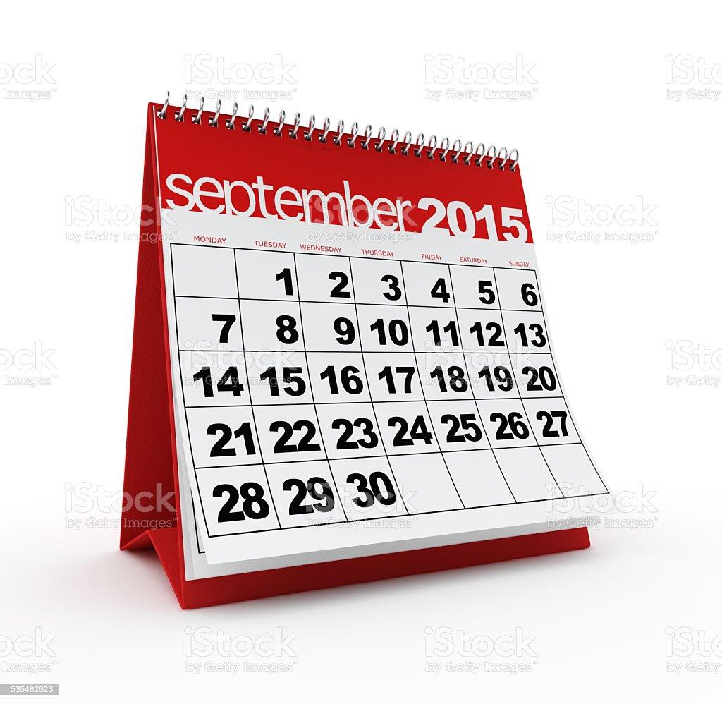 September 2015 calendar stock photo