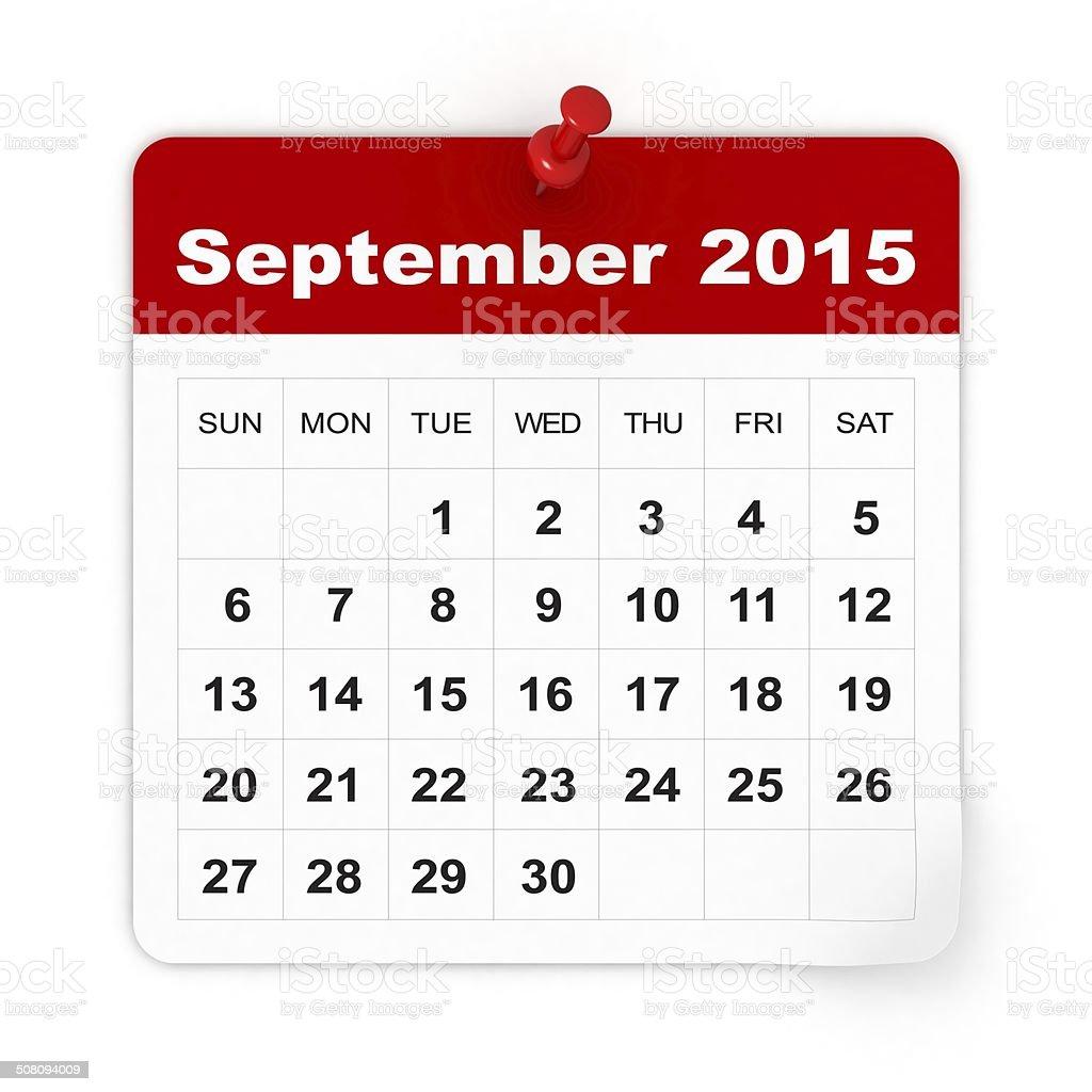 September 2015 - Calendar series stock photo