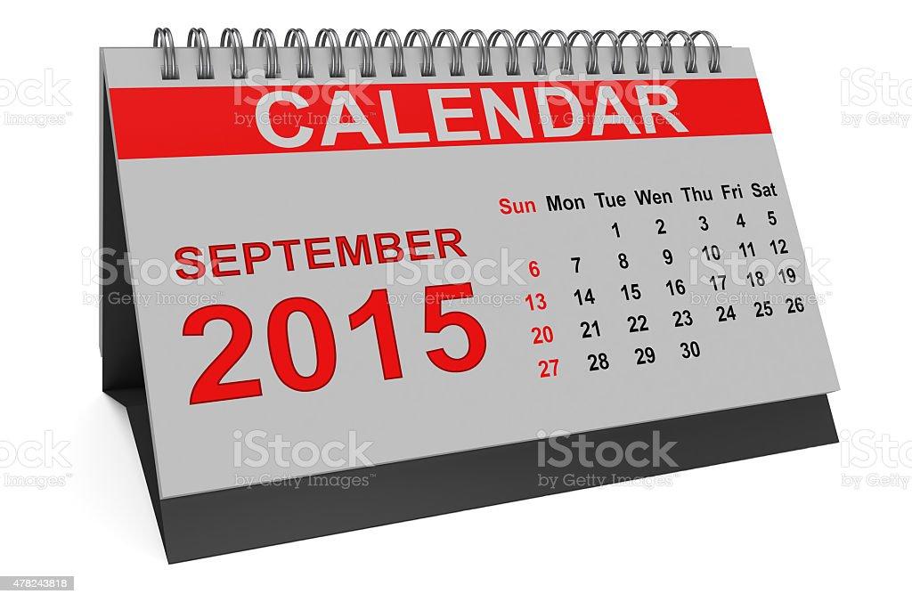 September 2015, desk calendar stock photo