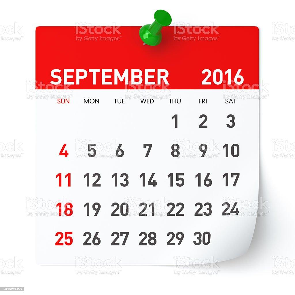 September 2016 - Calendar. stock photo