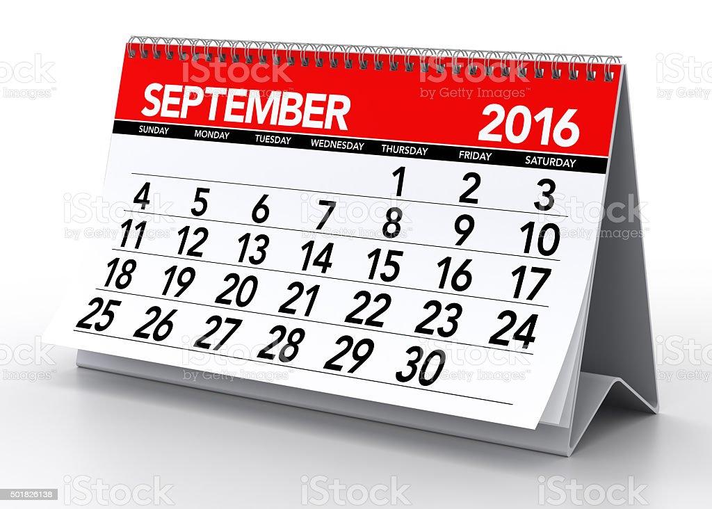 September 2016 Calendar stock photo