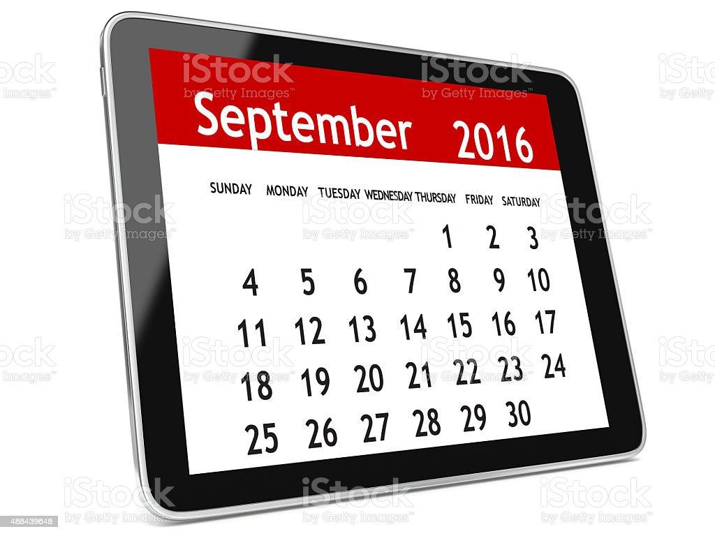 September 2016 calendar tablet stock photo