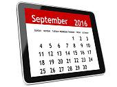 September 2016 calendar tablet