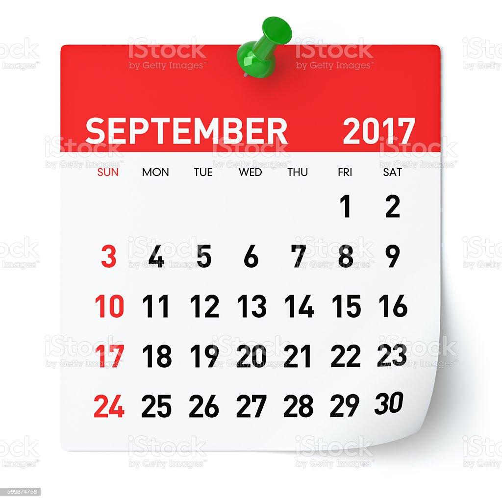 September 2017 - Calendar stock photo