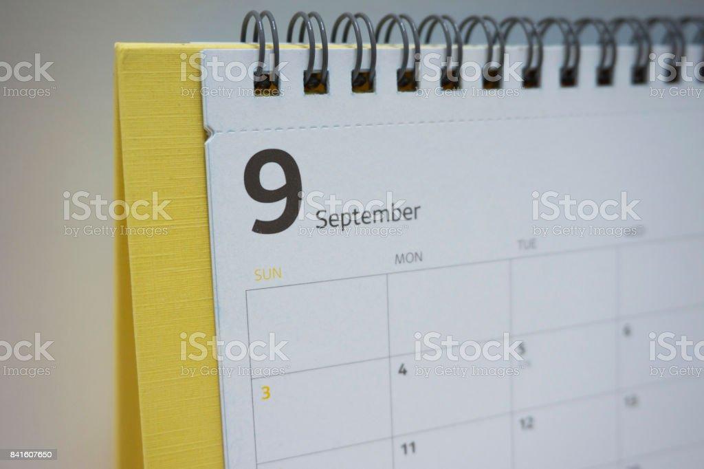 September 2017 calendar stock photo