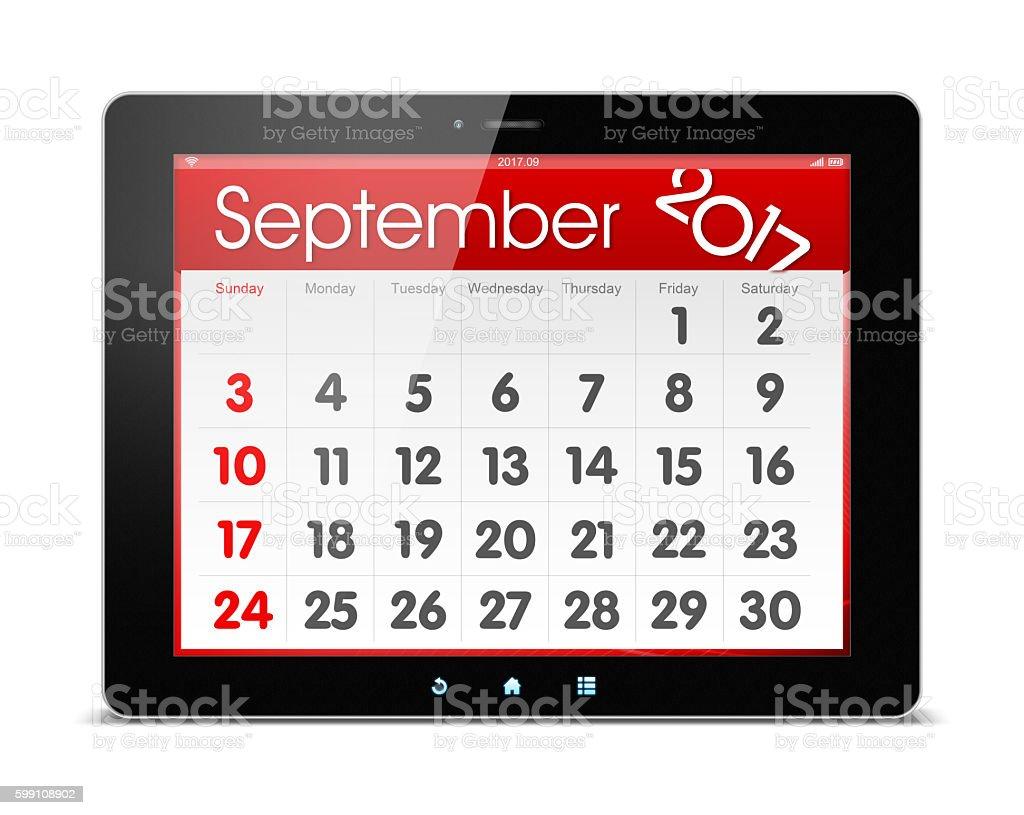 September 2017 Calender on digital tablet isolated stock photo
