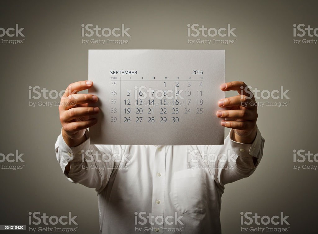 September calendar list of the year two thousand sixteen. stock photo