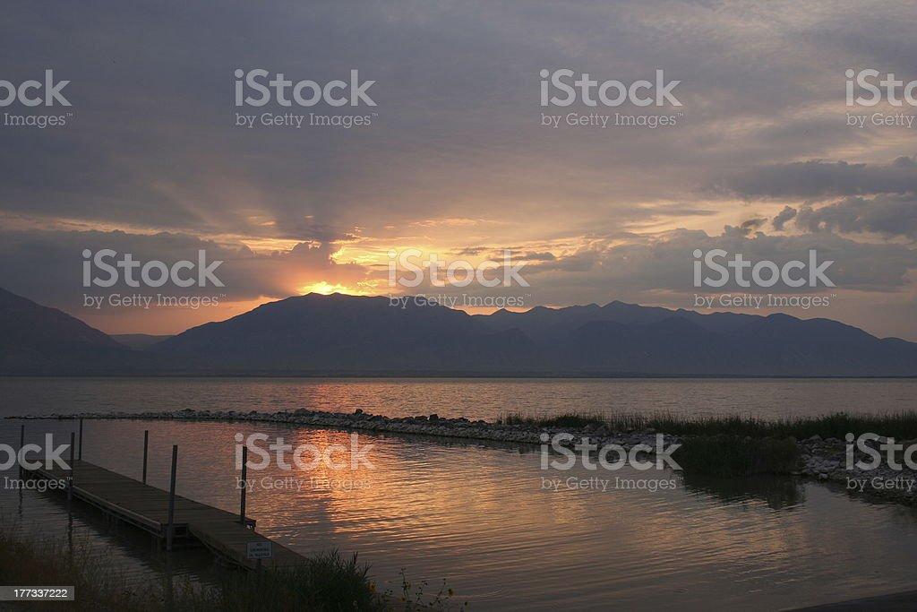 September Utah Lake Sunrise royalty-free stock photo