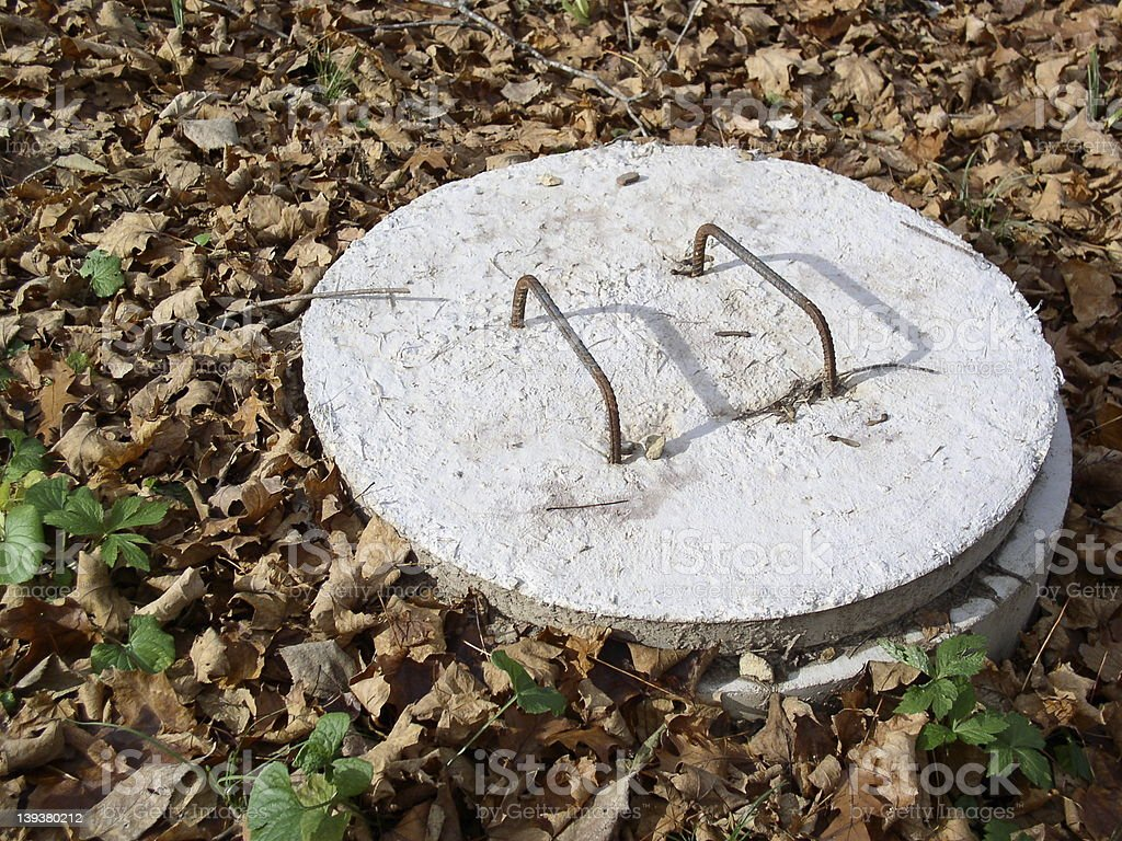 Septic cover - Fall stock photo