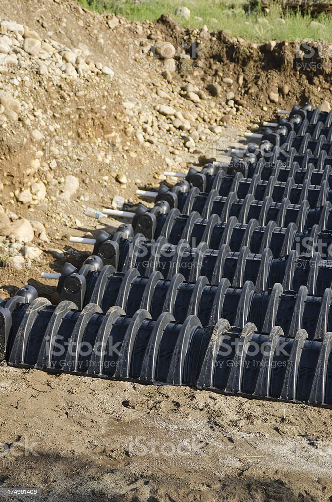 Septic Leach Field Under Construction stock photo