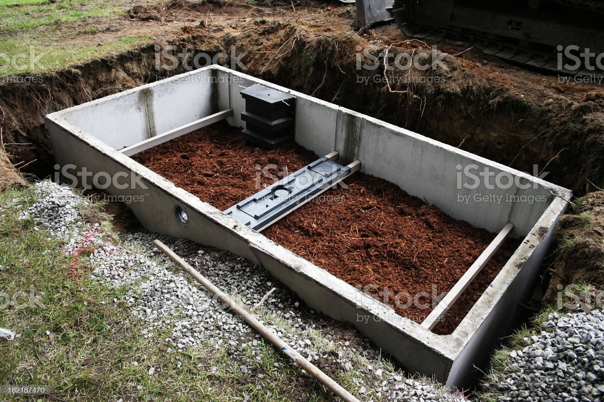 Septic system construction royalty-free stock photo