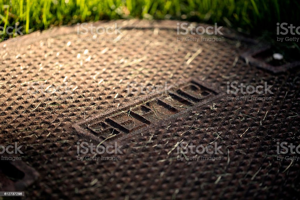Septic Tank Cover stock photo