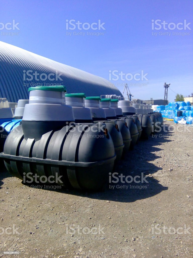 Septic tanks storage at the manufacturer factory ready for sale stock photo