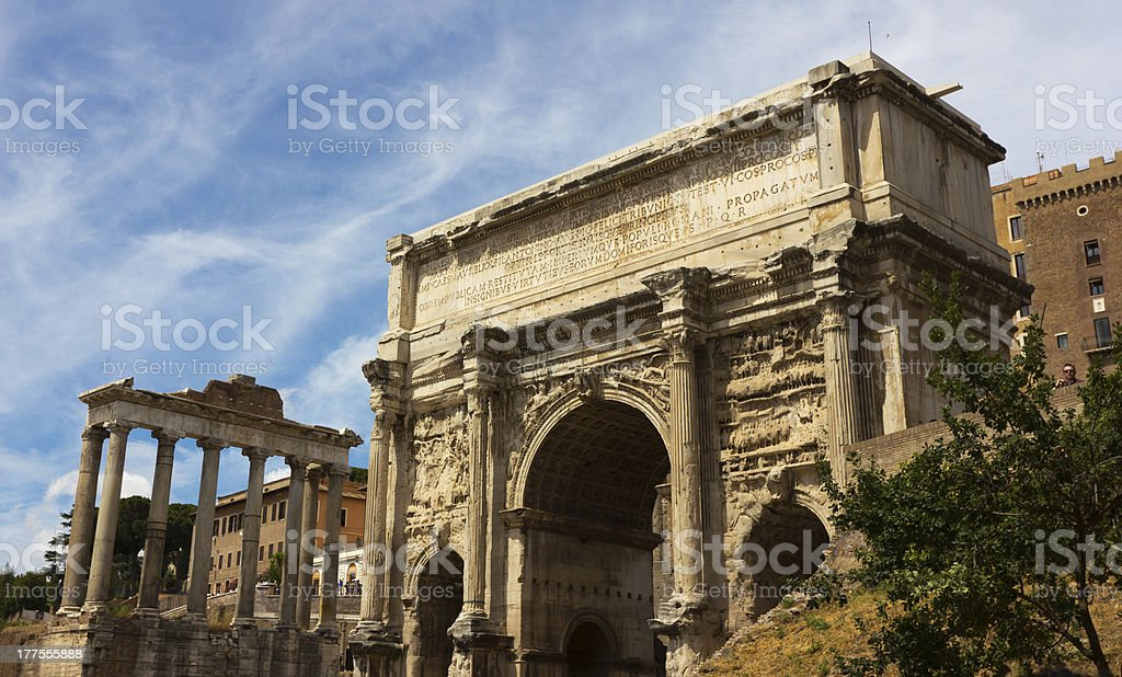Septimius' Arch and Temple of Saturn stock photo