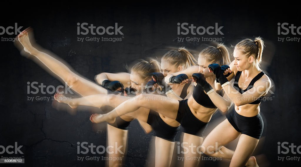 Sequence Image Of Women Fighter Kicking stock photo