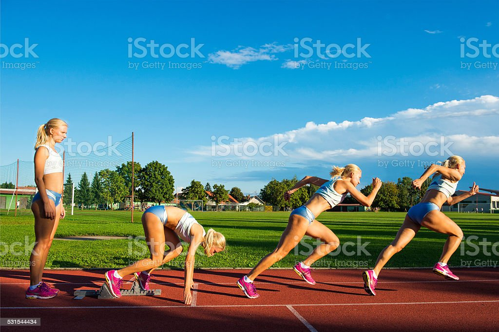 Sequence Image of Young Athlete Performing Start stock photo