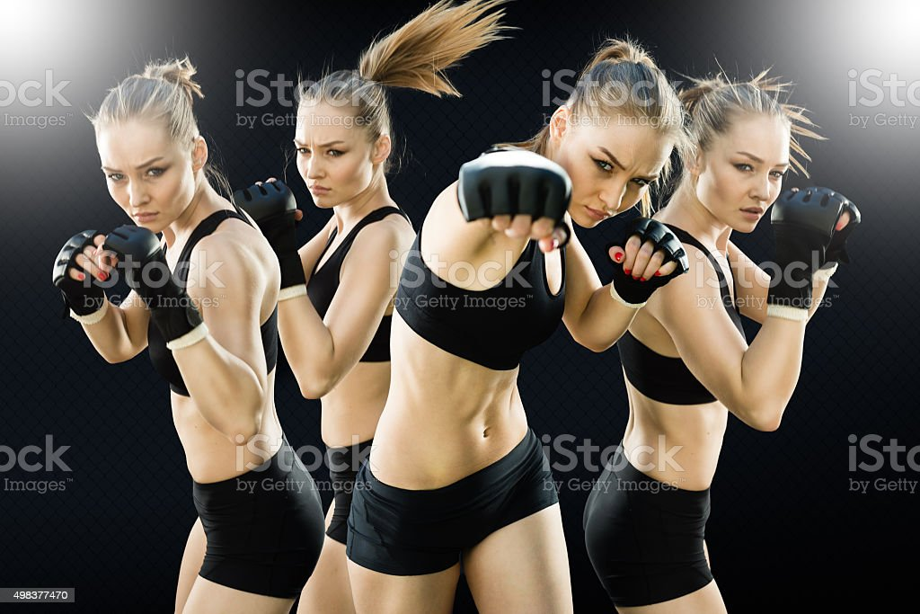 Sequence Image Punching of a Women Fighter in the Cage stock photo