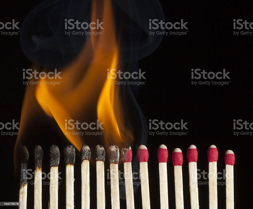 Sequence Of A Burning Match stock photo