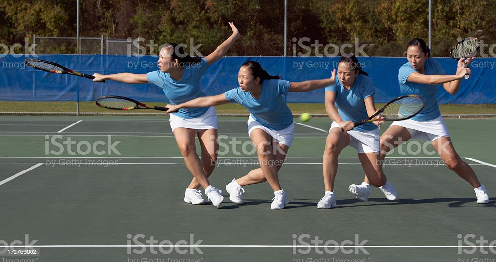 Sequence of tennis backhand approach slice stock photo