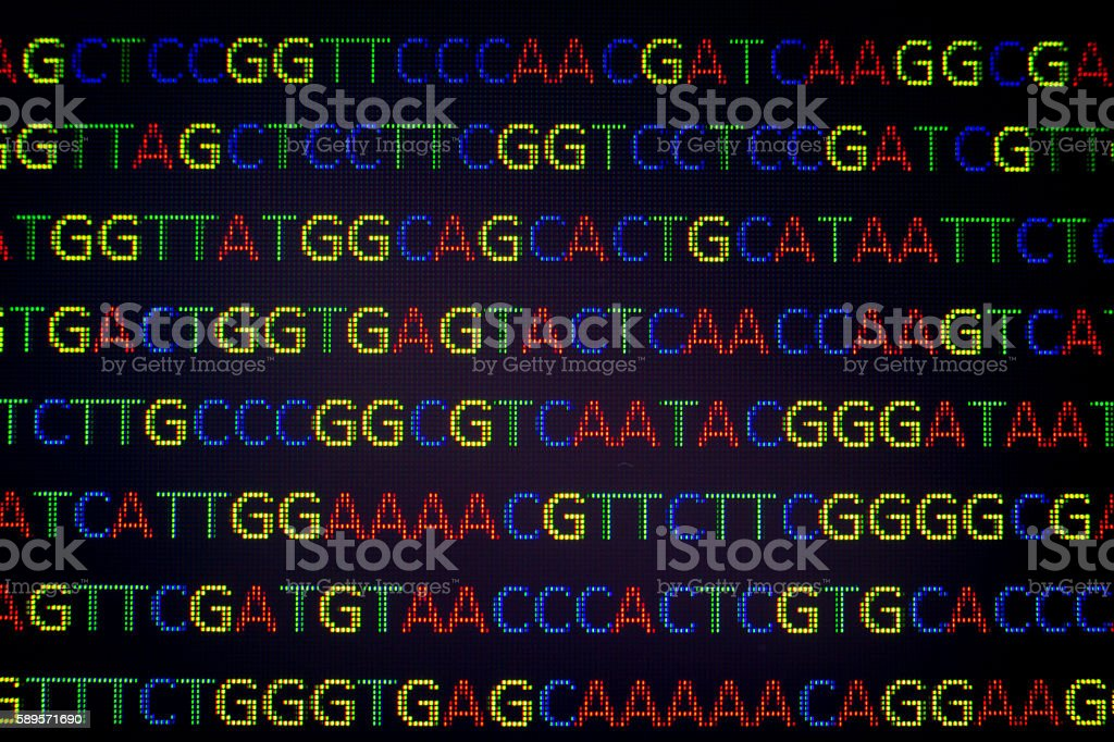 DNA sequence with colored letters on black background stock photo