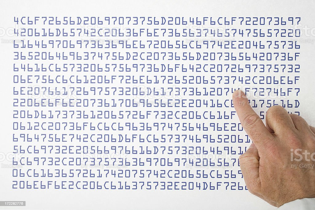 Sequences of digits stock photo