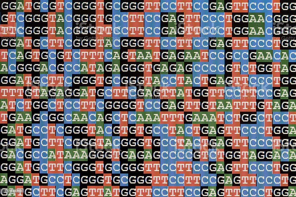 DNA sequences unaligned on LCD computer screen stock photo