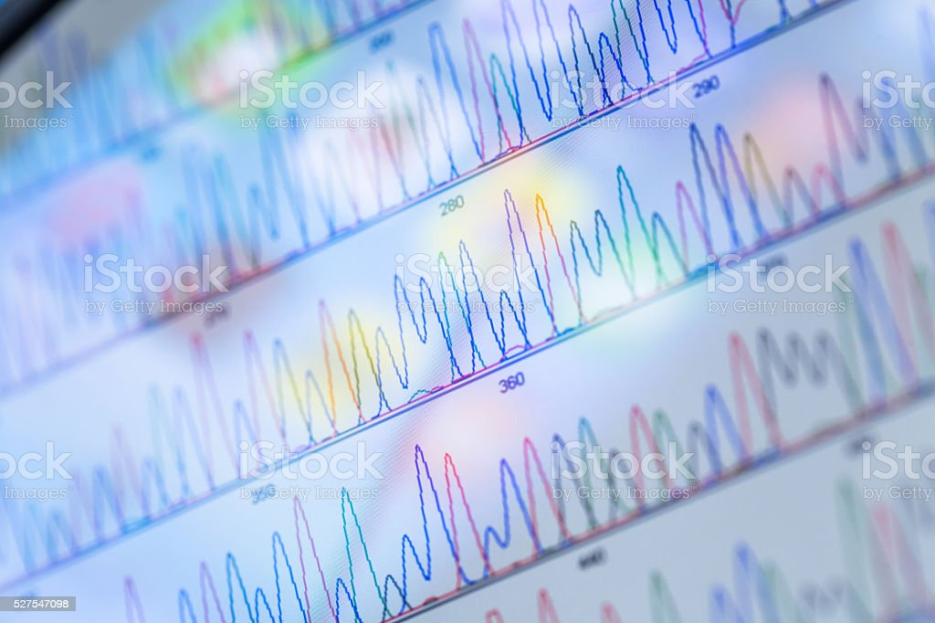 DNA sequencing peaks show on tablet stock photo