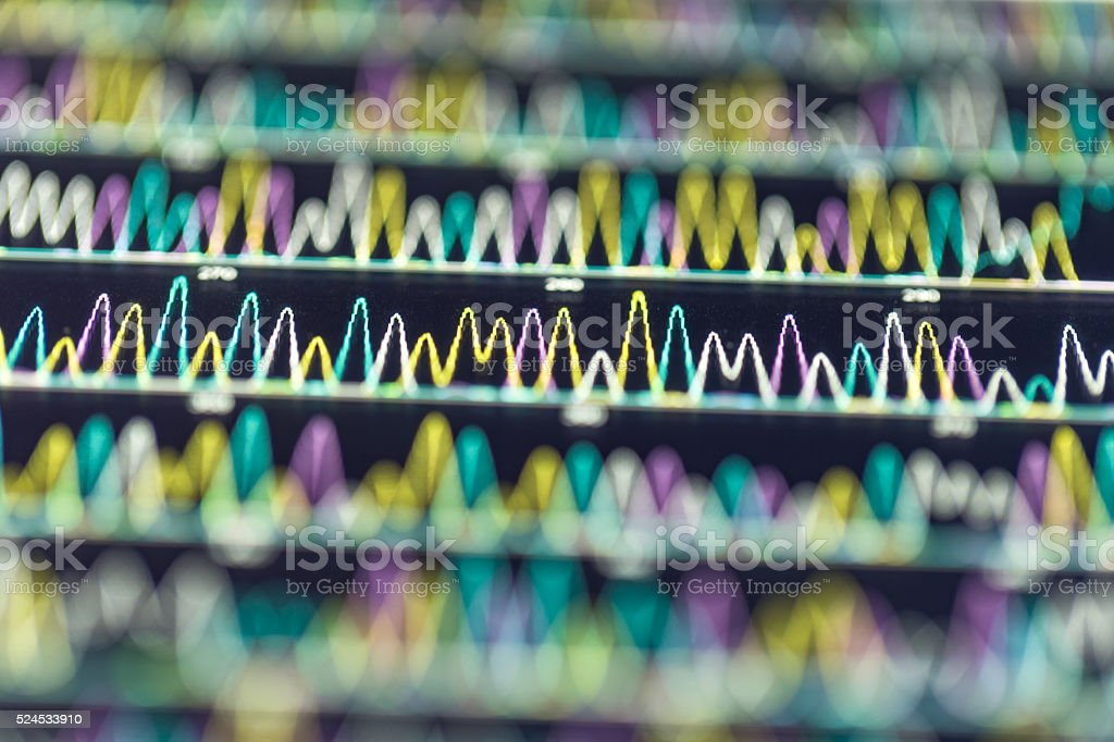 DNA sequencing peaks show stock photo