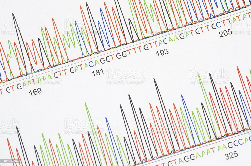Sequencing results stock photo