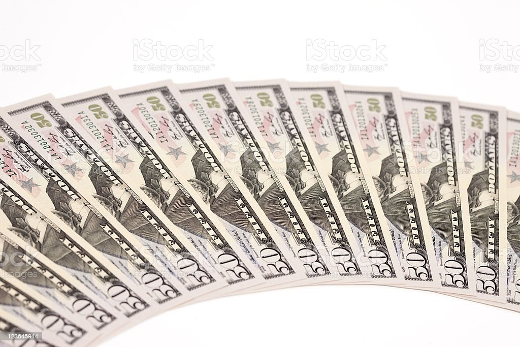 Sequentially Numbered Fifty Dollar Bills stock photo