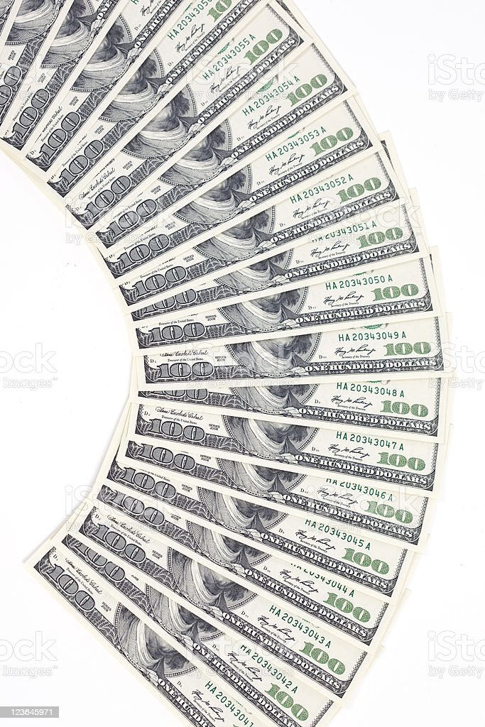 Sequentially Numbered hundred Dollar Bills stock photo