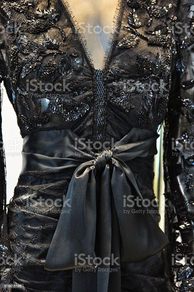 Sequin Dress Satin Bow Chiffon Bodice Fashion stock photo